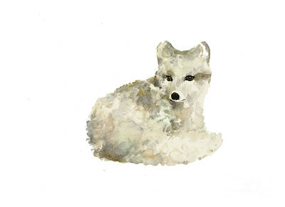 Arctic Fox Watercolor Art Print Painting Art Print