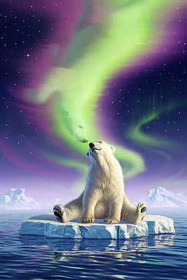 Polar Bear Wall Art - Digital Art - Arctic Kiss by Jerry LoFaro