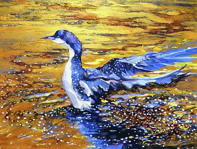 Wall Art - Painting - Arctic Loon On Golden Pond by Beverly Berwick