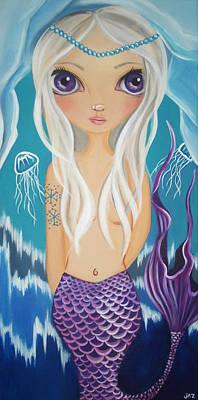Pop Surrealism Painting - Arctic Mermaid by Jaz Higgins