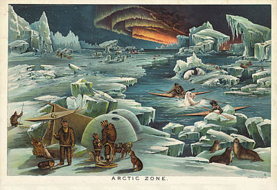 Drawing - Arctic Zone - Old Historic Atlas - Illustrated Chart - Polar Region - Eskimos - Igloo - Icebergs by Studio Grafiikka