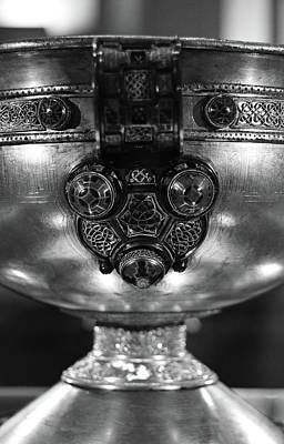 Photograph - Ardagh Chalice Macro Irish Artistic Heritage Black And White by Shawn O'Brien
