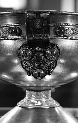 Photograph - Ardagh Chalice Macro Irish Artistic Heritage Black And White by Shawn O'Brien