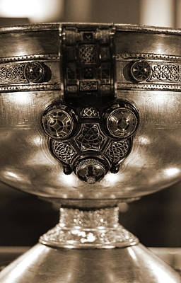 Photograph - Ardagh Chalice Macro Irish Artistic Heritage Sepia by Shawn O'Brien