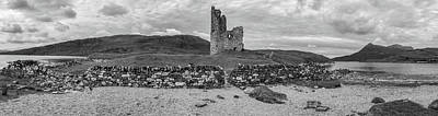 Fantasy Royalty-Free and Rights-Managed Images - Ardvrek Castle Panorama 0842 BW by Teresa Wilson