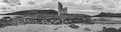 Photograph - Ardvrek Castle Panorama 0842 Bw by Teresa Wilson