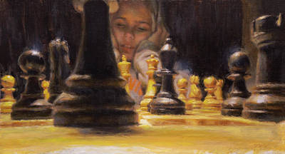 Chess Pieces Painting - Are We Through Yet? by Dan Bulleit