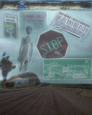 Digital Art - Area 51 Follow The Signs If You Dare by Leslie Montgomery