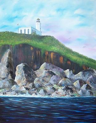 Puerto Rico Painting - Arecibo Lighthouse by Tony Rodriguez