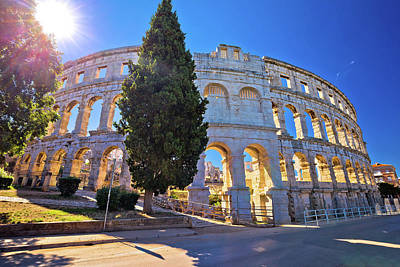 Photograph - Arena Pula Roman Amphiteater At Sunset View by Brch Photography