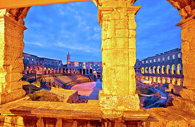 Photograph - Arena Pula Roman Amphiteater Dawn View by Brch Photography