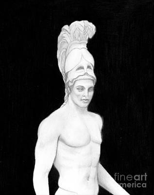 Frenzy Drawing - Ares God Of War by Gabriela Junosova