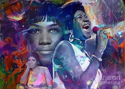 Mixed Media Royalty Free Images - Aretha Franklin Royalty-Free Image by Carl Gouveia