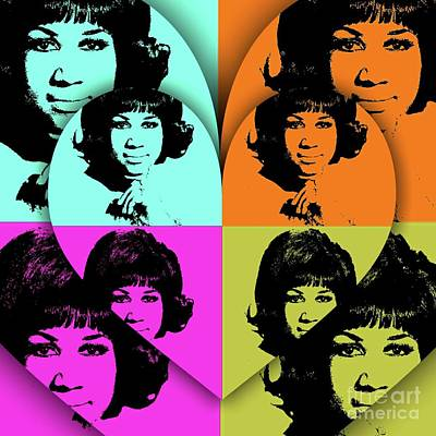 Music Royalty-Free and Rights-Managed Images - Aretha Franklin, Music Legend - Pop Art by Mary Bassett