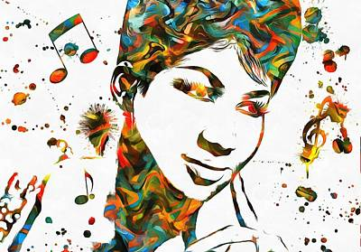 Aretha Franklin Paint Splatter Art Print