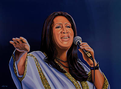 Aretha Franklin Painting Print by Paul Meijering