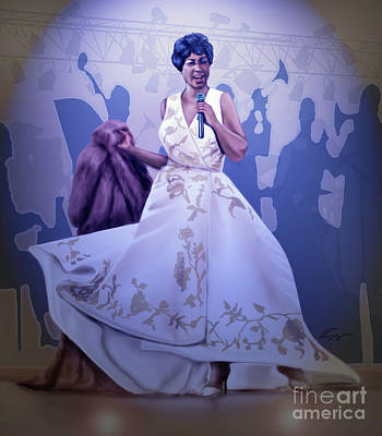 Painting - Aretha Franklin Rock Steady by Reggie Duffie
