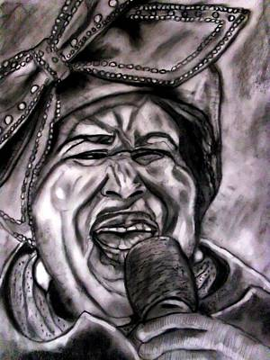 Chain Of Fools Drawing - Aretha by Herbert Renard