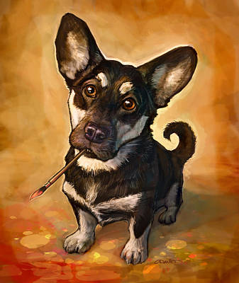 Corgi Painting - Arfist by Sean ODaniels