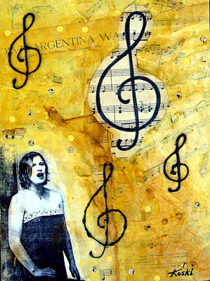 Old Sheet Music Painting - Argentina Way by Beverly  Koski