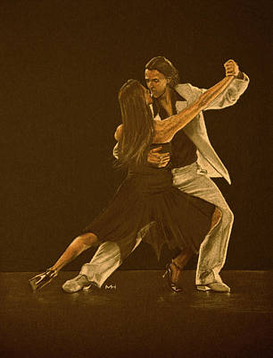 Drawing - Argentine Tango Dancers by Martin Howard