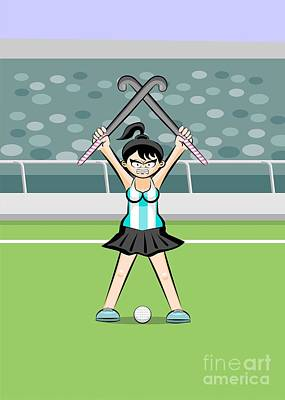 Conceptual Digital Art - Argentinean Girl Hockey Player Raises Her Arms And Crosses Her S by Daniel Ghioldi