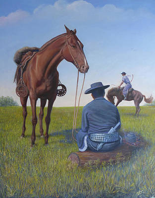 Painting - Argentinian Gauchos, Dressage by Miguel A Chavez
