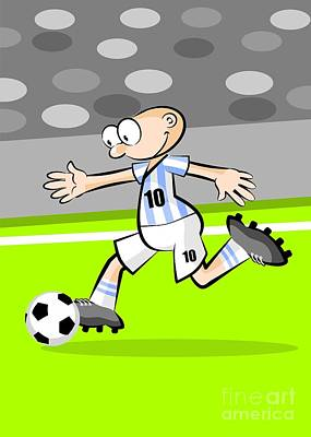 Player Digital Art - Argentinian Soccer Player With The Ball by Daniel Ghioldi