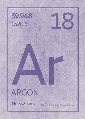 Periodic Table Wall Art - Mixed Media - Argon Element Symbol Periodic Table Series 018 by Design Turnpike