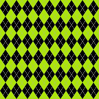 Argyle Diamond With Dash Lines In Black N09-p0176 Art Print by Custom Home Fashions