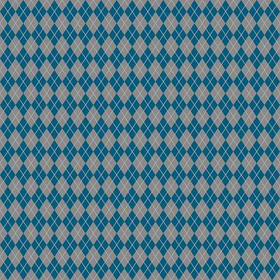 Argyle Diamond With Crisscross Lines In Paris Gray T18-p0126 Art Print by Custom Home Fashions