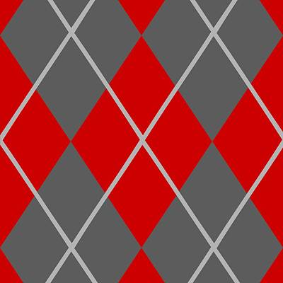Argyle Diamond With Crisscross Lines In Pewter Gray N02-p0126 Art Print by Custom Home Fashions