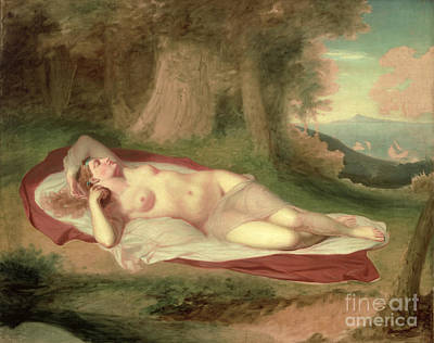 Ariadne Asleep On The Island Of Naxos Art Print by John Vanderlyn