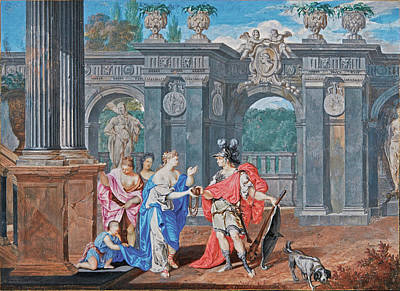 T- Ball Painting - Ariadne Giving Theseus A Ball Of Thread by Joseph Werner