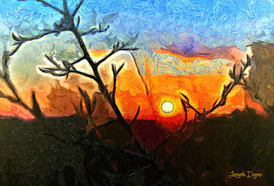 Scenery Digital Art - Arid Sunset - Da by Leonardo Digenio