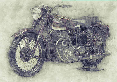 Mixed Media Royalty Free Images - Ariel Square Four 1 - 1931 - Vintage Motorcycle Poster - Automotive Art Royalty-Free Image by Studio Grafiikka