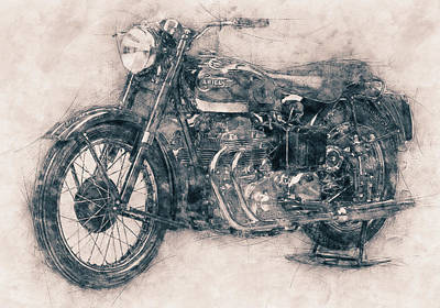 Mixed Media Royalty Free Images - Ariel Square Four - 1931 - Vintage Motorcycle Poster - Automotive Art Royalty-Free Image by Studio Grafiikka