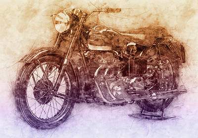 Mixed Media Royalty Free Images - Ariel Square Four 2 - 1931 - Vintage Motorcycle Poster - Automotive Art Royalty-Free Image by Studio Grafiikka