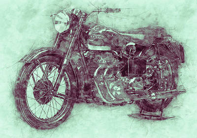 Royalty-Free and Rights-Managed Images - Ariel Square Four 3 - 1931 - Vintage Motorcycle Poster - Automotive Art by Studio Grafiikka