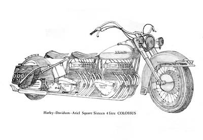 Two Wheeler Drawing - Ariel Square Sixteen by Stephen Brooks