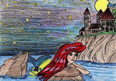 Flounder Painting - Ariel The Little Mermaid Dreams by Tambra Wilcox