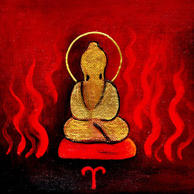 Zodiac Painting - Aries Buddha by Clare Goodwin
