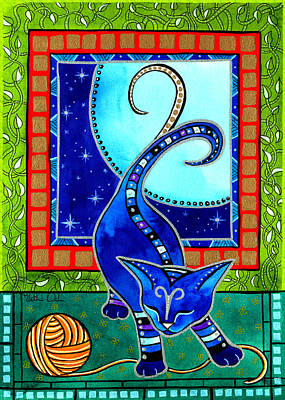 Painting - Aries Cat Zodiac by Dora Hathazi Mendes