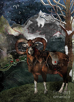 Zodiac Mixed Media - Aries The Ram by Francesca Rizzato
