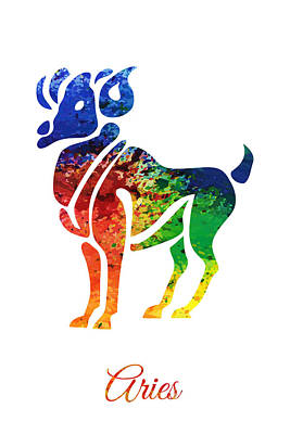 Digital Art - Aries Zodiac Sign  by PixBreak Art