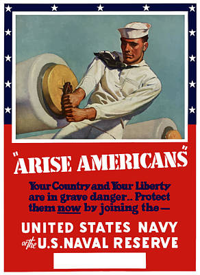 Us Navy Painting - Arise Americans Join The Navy  by War Is Hell Store