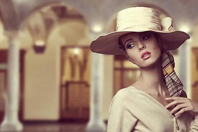 Foulard Photograph - Aristocratic Girl With Hat  by Dumitru Pogolsa