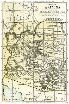 Photograph - Arizona Territory Antique Map 1891 by Phil Cardamone