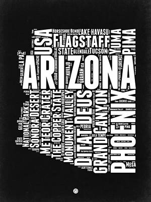 Grand Canyon Digital Art - Arizona Black And White Word Cloud Map by Naxart Studio