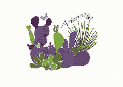 Art Print featuring the digital art Arizona Cacti by Methune Hively
